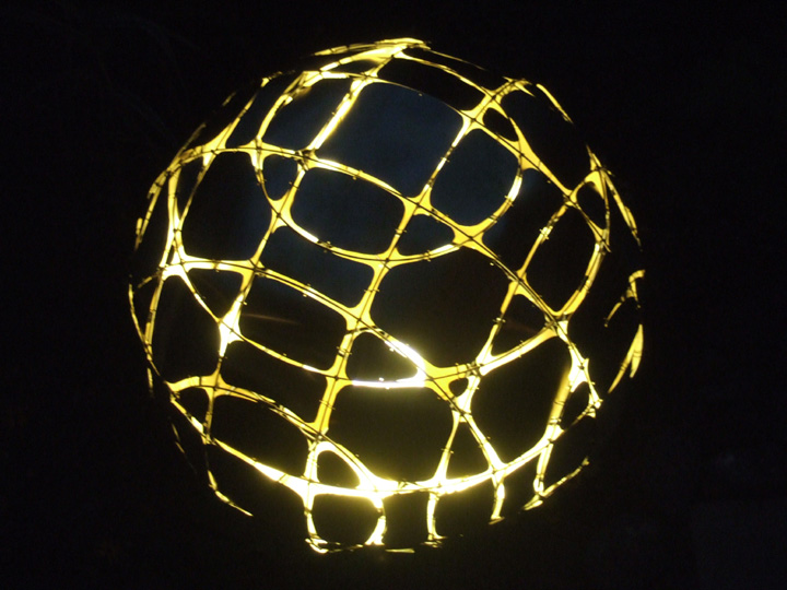 Brass Sheet Wire Sphere Light at Night